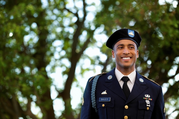 military male smiling