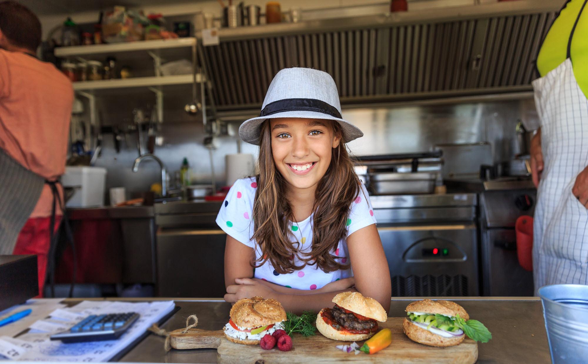 girl entrepreneur in a kitchen