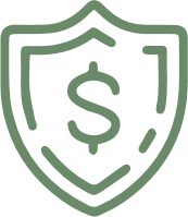 green shield with money symbol