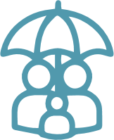 family under umbrella icon