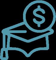 blue graduate cap with money symbol
