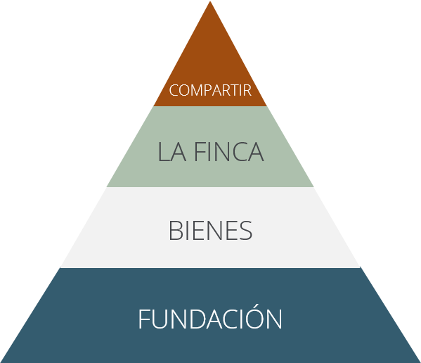 La pirámide para acumular riqueza con fundacion, activos, la finca y compartir