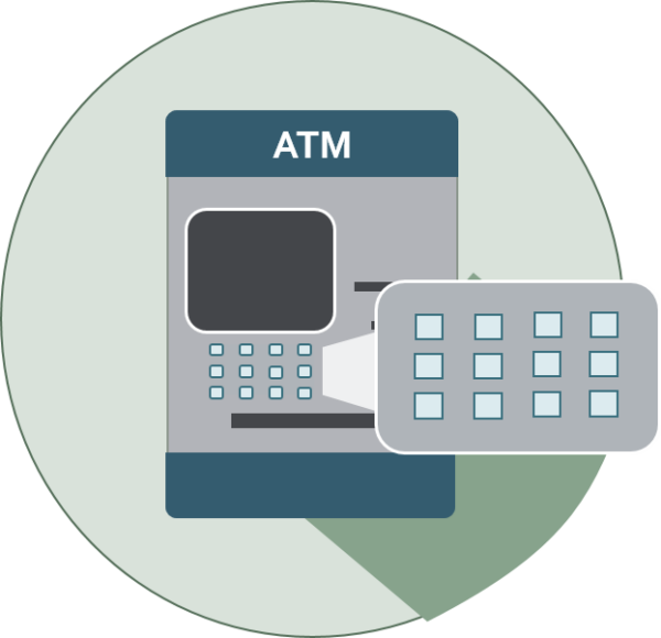 icon of an atm with keypad highlighted