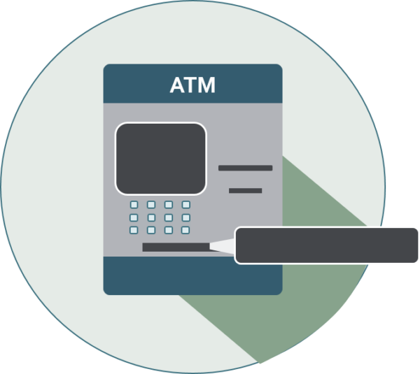 icon of an atm with cash dispenser highlighted
