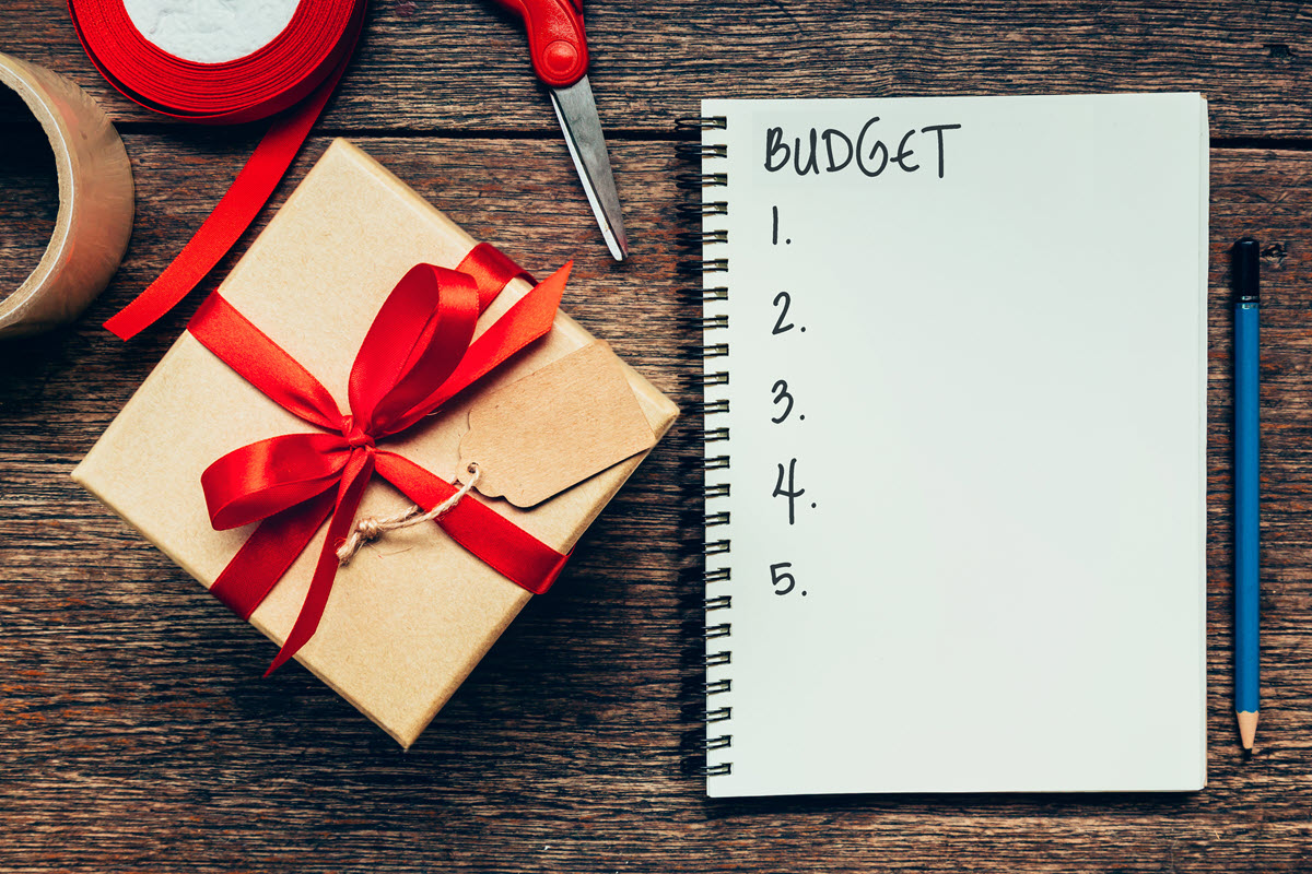 budget notebook and gift