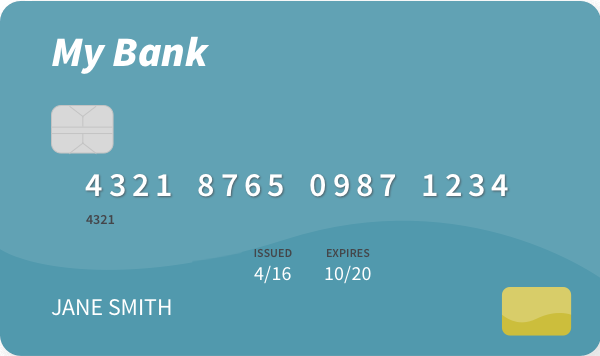 front of a debit card