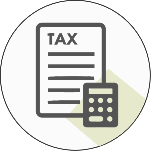 tax form with calculator icon